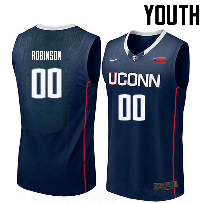 Youth Uconn Huskies #00 Clifford Robinson College Basketball Jerseys-Navy