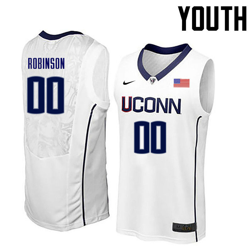 Youth Uconn Huskies #00 Clifford Robinson College Basketball Jerseys-White