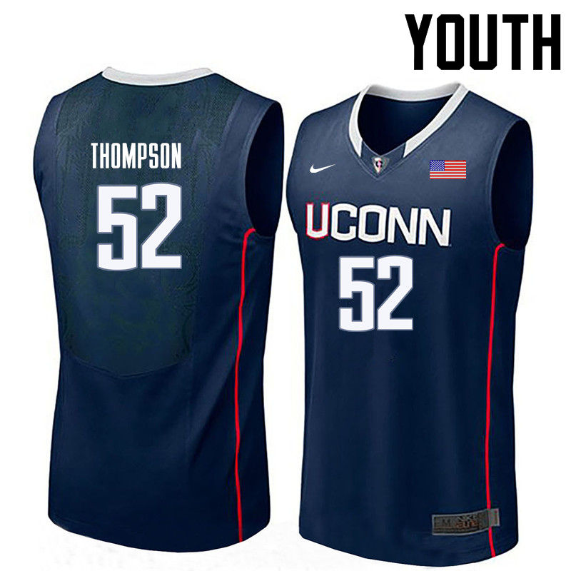 Youth Uconn Huskies #52 Corny Thompson College Basketball Jerseys-Navy