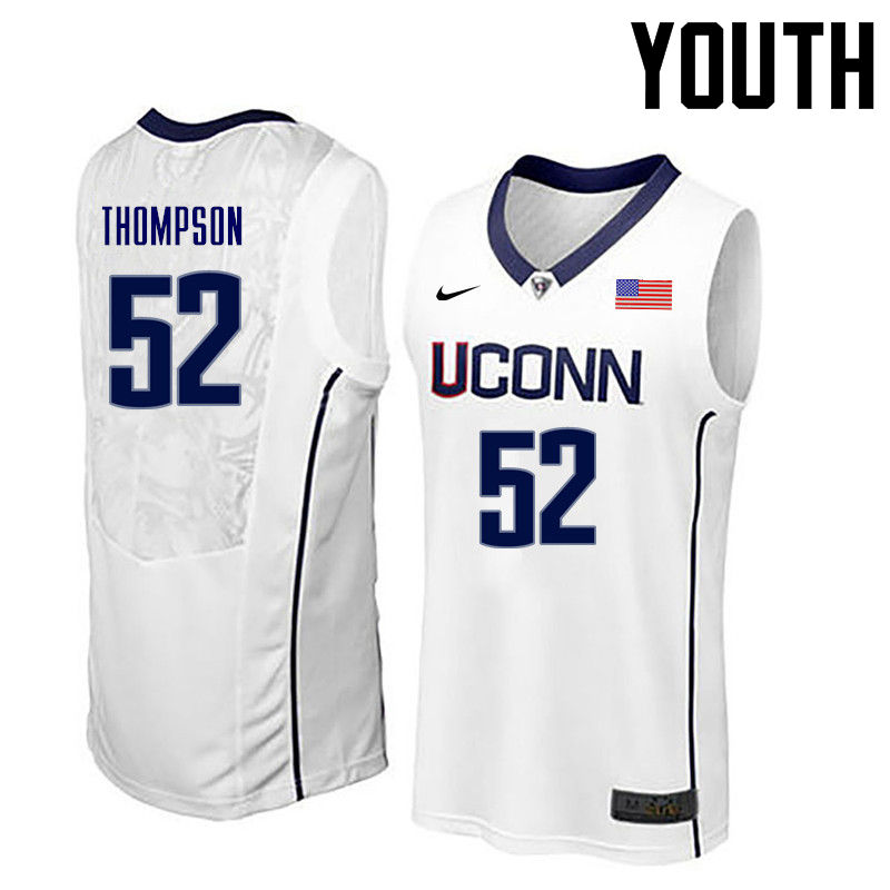 Youth Uconn Huskies #52 Corny Thompson College Basketball Jerseys-White