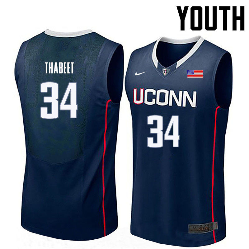 Youth Uconn Huskies #34 Hasheem Thabeet College Basketball Jerseys-Navy
