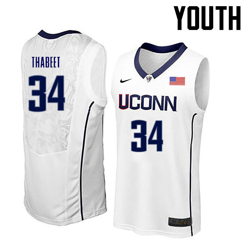 Youth Uconn Huskies #34 Hasheem Thabeet College Basketball Jerseys-White