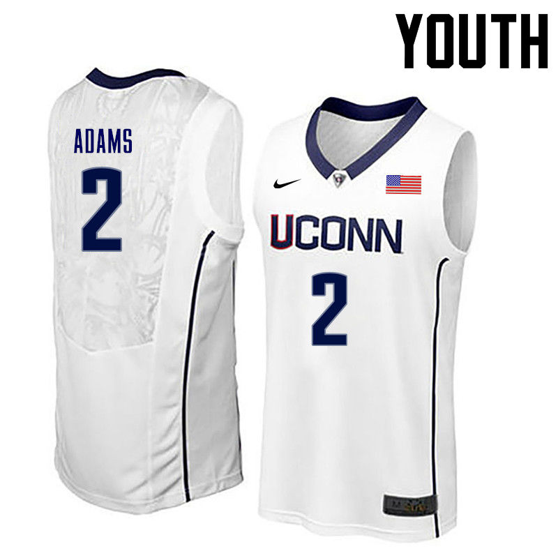 Youth Uconn Huskies #2 Jalen Adams College Basketball Jerseys-White