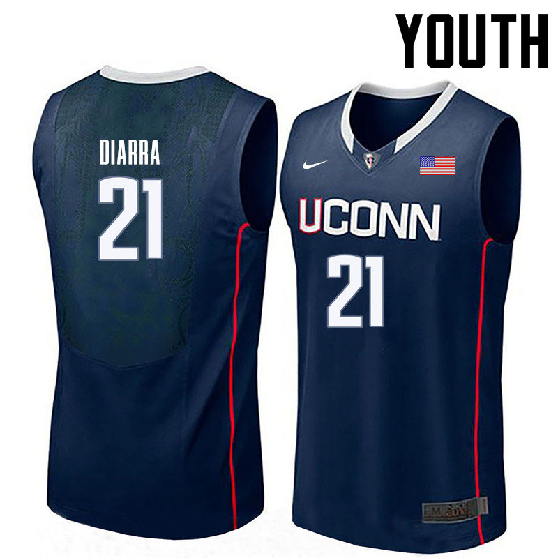 Youth Uconn Huskies #21 Mamadou Diarra College Basketball Jerseys-Navy