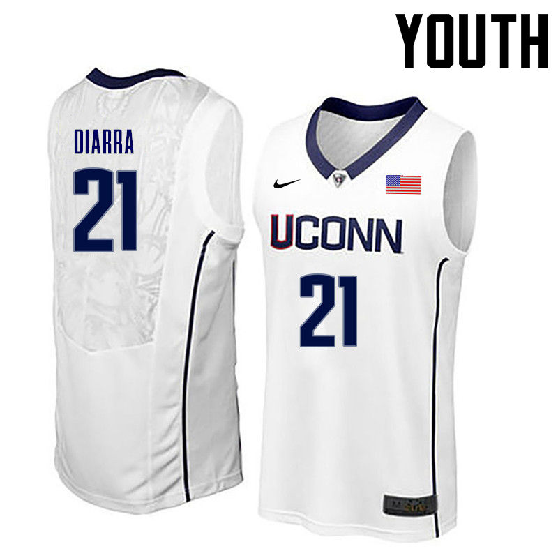 Youth Uconn Huskies #21 Mamadou Diarra College Basketball Jerseys-White