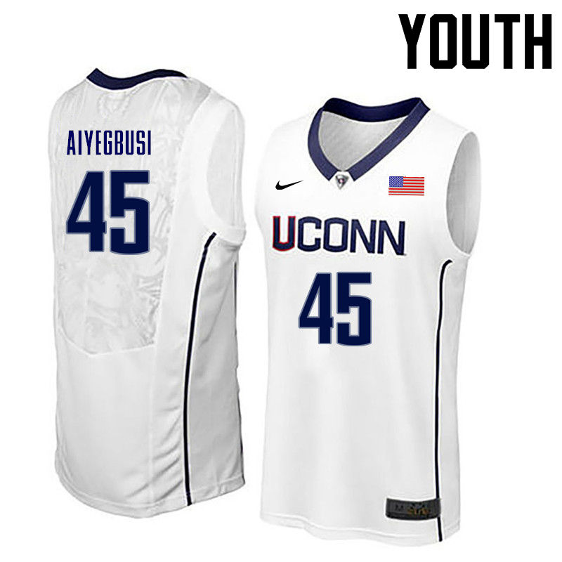 Youth Uconn Huskies #45 Omotayo Aiyegbusi College Basketball Jerseys-White