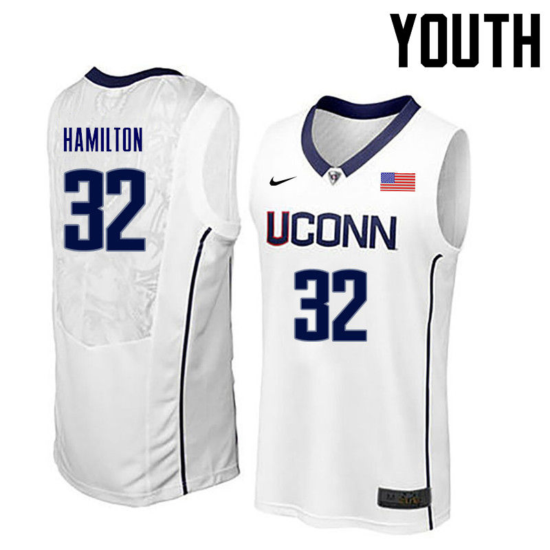 Youth Uconn Huskies #32 Richard Hamilton College Basketball Jerseys-White