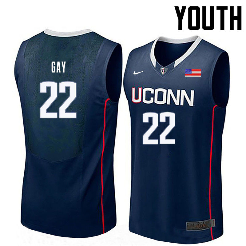 Youth Uconn Huskies #22 Rudy Gay College Basketball Jerseys-Navy