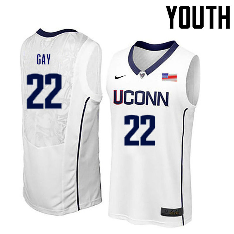 Youth Uconn Huskies #22 Rudy Gay College Basketball Jerseys-White